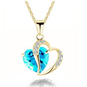 Jewelry - Turquoise Double Heart Crystal Necklace